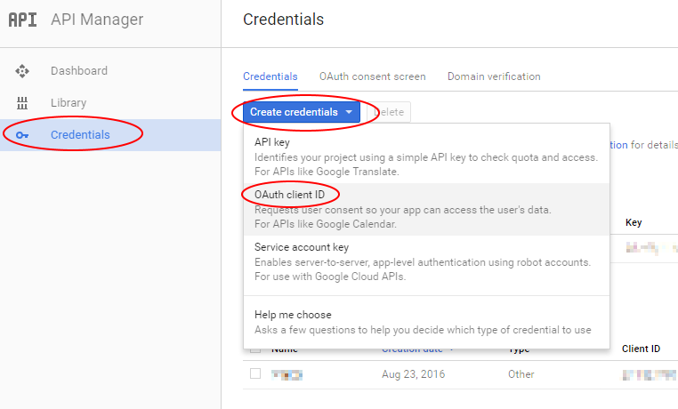 Create a new OAuth client ID