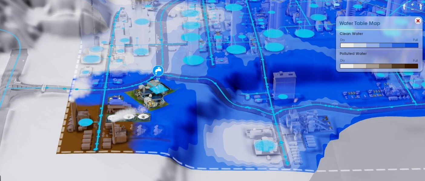 Screenshot of pollution spreading in SimCity